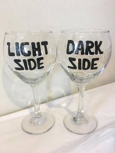 Light Side Dark Side Wine Glass Set  Star by CreationsbyTiff34