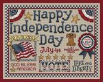 Happy Independence Day! A cross stitch design by Sue Hillis    A great design to show off your patriotism...maybe stitch as a gift for a military member? With all the colorful components this cross stitch design fits perfectly into a standard 8″ x 10″ frame to make finishing easy.