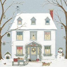 weihnachten illustration Sally Swannell - Illustrator and Artist Christmas Scenes, Noel Christmas, Vintage Christmas Cards, Christmas Pictures, Winter Christmas, Illustration Noel, Christmas Illustration, Art Populaire, House Drawing