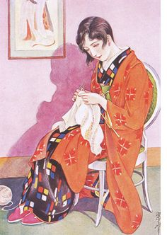 A graceful Kashō homemaker from December 1930 Girls' Illustrated. Source: Matsumoto Shinako, Takabatake Kashō: Taishō, Shōwa retro byūtii, Tokyo: Kawade shōbo, 2004, p. 71.