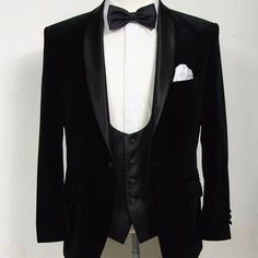 45ed0042d39c Timeless black velvet dinner suit teamed with a low cut scooped waistcoat. # classic #