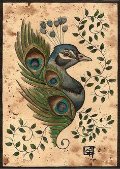 weecock peacock tattoo flash by ~Scarlet-Hel