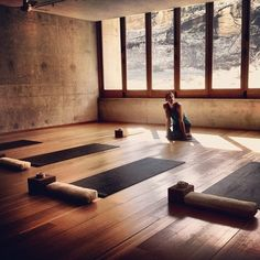yoga space - placed in a sun room
