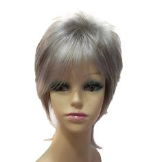 Capless Synthetic Fluffy Short Straight Synthetic Hair Full Wig For Sexy Women