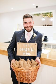 Confetti Groomsmen Sign Basket Signage Milling Barn Wedding Victoria Mitchell Photography #ConfettiCones #ConfettiBasket #Personalised #Petals #Wedding #Confetti #Groomsmen #WeddingSign