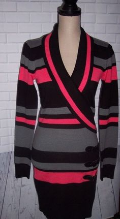 f02c82ee3d Say What Women Size Small Bodycon Black Pink Gray Knit Sweater Sweater Dress