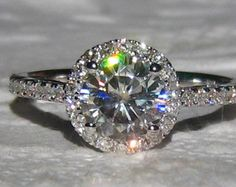 Cushion Moissanite Engagement Ring and Diamond by LaMoreDesign