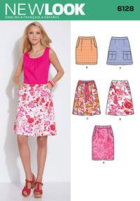 Misses Skirts New Look Sewing Pattern No. 6128. Size 4-16.