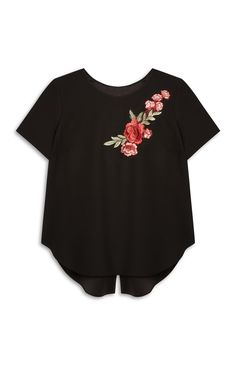 Primark - Black Embroidered Tshirt