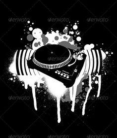 Graffiti Black and White Turntable. #GraphicRiver Graffiti Black and White…