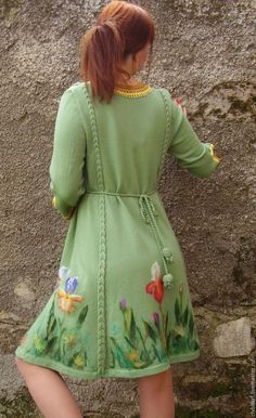 """Купить Платье вязаное """"Нефритовый ирис"""" - валяный цветок, валяние на трикотаже, рисование шерстью"""
