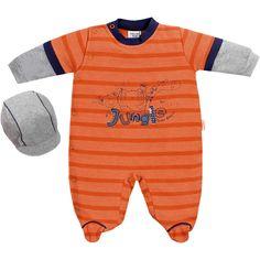 Macacão Bebê Masculino com Boné Laranja - Sonho Mágico :: 764 Kids | Roupa bebê e infantil
