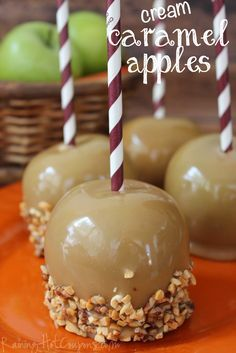 Cream Caramel Apples...a little creamier and lighter than normal caramel apples