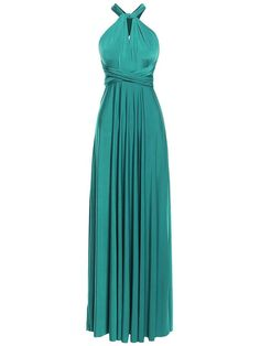 Multi Way Wrap Infinity Long Maxi Jersey Convertible Dress in Teal