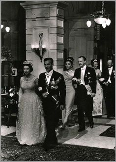 Queen Elizabeth II with The Shah of Iran, Empress Farah of Iran, Princess Beatrix of The Netherlands, Grand Duchess Charlotte of Luxembourg and Prince Philip Duke of Edinburgh celebrating the 25th wedding anniversary of Queen Juliana and Prince Bernhard of The Netherlands, 1962
