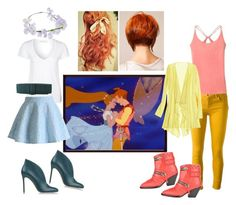 """""""Thumbelina and Cornelius"""" by rachel-hubby ❤ liked on Polyvore featuring American Vintage, Chicwish, MM6 Maison Margiela, dVb Victoria Beckham, Pink Lotus, Calypso St. Barth, ASOS, Giuseppe Zanotti and Gianvito Rossi"""
