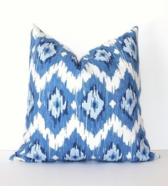 """Blue & White Ikat Decorative Designer Pillow Cover 16"""" x 16"""" blueberry navy sky spa royal Accent Throw Cushion modern suzani Duralee. $38.00, via Etsy."""