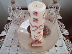 Nedir Bu Peçete Dekupajı? - piece of cake  Napkin Decoupage Candle & Stone