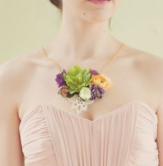 These necklace corsages could be made with any combination of flowers and colours a bride loves - and what a fresh change from the regular pin-on corsage