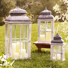 I love lanterns! These are Park Hill Windowpane Lanterns from Pottery Barn