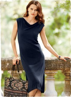 At once understated and alluring, our shift is fine gauge knit of Dusty Navy pima (60%) and viscose from bamboo (40%) for polished ease, with a draped boatneck and flattering column silhouette.