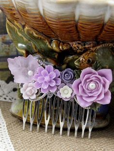 Purple Hair Comb, Resin Flower Hair Comb, Wedding Jewelry, Bridesmaid Accessory, Bridal Hair Comb, Victorian Style, Vintage Style Hair Comb by SophieJewelism on Etsy https://www.etsy.com/listing/205424979/purple-hair-comb-resin-flower-hair-comb
