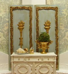 French Wall Panel in Aged Blue Miniature Dollhouse Accessory Scale 1:12 Pair currently on Hold for Debi