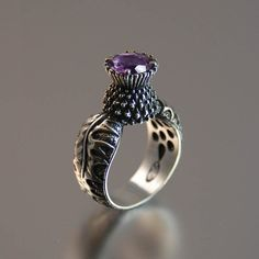 Blooming Thistle Ring - Sterling Silver and Amethyst - Designed by Natalia Moroz and Sergey Zhibodeov.