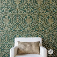 """Laleh"", meaning Tulip, takes center stage in our Laleh Persian Damask Wall Stencil. This intricate pattern resembles traditional Persian damask fabric and incl"