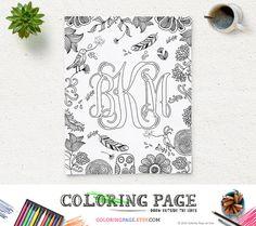 Printable Coloring Page Wedding Monogram Name Initial Art Nursery Decor Baby Birthday Anniversary Personal Monogram Family Crest Monogram