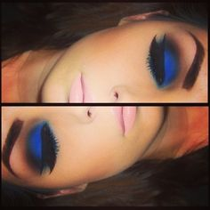 Bold Blue Eyeshadow and Pale Pink Lip Love this look!