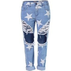 Yoins Star Print Boyfriend Jeans With Extreme Ripped Knees ($41) ❤ liked on Polyvore featuring jeans, pants, bottoms, yoins, trousers, blue, destructed boyfriend jeans, button-fly jeans, boyfriend cropped jeans and ripped jeans