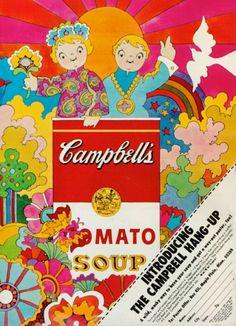 «La influencia de Peter Max en los anuncios de la icónica marca (1968)».Tómate pues la sopita Campbell'sEl implacable pasar del tiempo y la ineptitud de Campbell's para cautivar a los Millenials tal cual los jóvenes latinoamericanos como su nueva base de consumidores, ha de tener a la CEO Denise Morrison, añorando el otrora apogeo de Andy Warhol y los Baby Boomers.