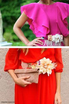 ¡PONTE EL CINTURÓN! Los cinturones de flores y plumas son perfectos para bodas de día.