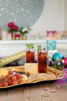 Recipe for a festive Cranberry Pomegranate mocktail.  Great for holiday parties.