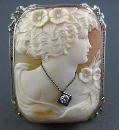 ANTIQUE-LARGE-08CT-DIAMOND-14K-WHITE-GOLD-FILIGREE-LADY-CAMEO-BROOCH-PIN-22063