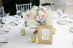 Blush white and gold centerpiece. Dahlias, roses, dusty miller, hydrangea. -Florals By Jenny -Pure Lavish Events -Kaysha Weiner Photography
