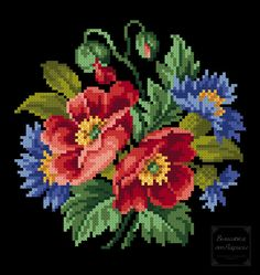 Cross Stitch Cards, Cross Stitch Rose, Cross Stitch Flowers, Folk Embroidery, Cross Stitch Embroidery, Black And White Flower Tattoo, Baby Cross Stitch Patterns, Acrylic Painting Flowers, Vintage Cross Stitches