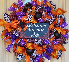 Halloween Wreath spider wreath autumn wreaths by EverydaySplendor