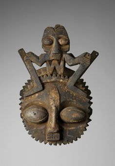 Africa | Mask from the Ijebu Yoruba people of Nigeria | Wood, metal and pigments | ca. late 20th century