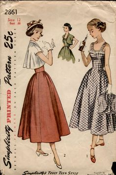 1940's Sewing Pattern for Teens, Dress with Boleros