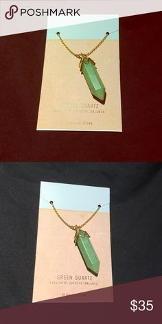 Green Quartz Crystal Necklace BNWT - Crystal  necklace - long necklace Macy's Jewelry Necklaces
