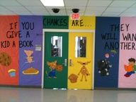 If you give a kid a book, chances are...they will want another.  Library Bulletin Board