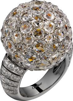 "Cartier. ""Paillettes Solaires"" - Ring - platinum, yellow gold, rose-cut diamonds, yellow, orange and white brilliant-cut diamonds."