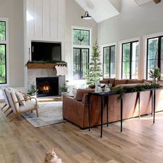 Two Story Fireplace, Tall Fireplace, Fireplace Wall, Living Room With Fireplace, Fireplaces, Living Room Vaulted Ceiling, Fireplace Between Windows, Fireplace Remodel, Fireplace Ideas