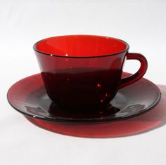 Royal Ruby Red Anchor Hocking Glass Cup Saucer