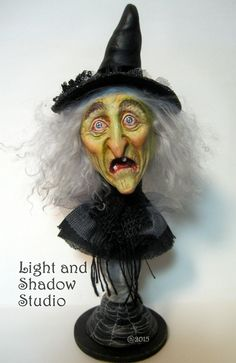 "Image of ""Lavender Blackwood"" Original Witch sculpture by tammy Strum Halloween folk art"
