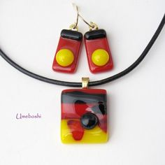 #Handmade Kiln Fused #Glass - Red, Yellow, Black #Pendant and #Earring Set by @Jo Perez  #Umeboshi #Jewelry on #ArtFire