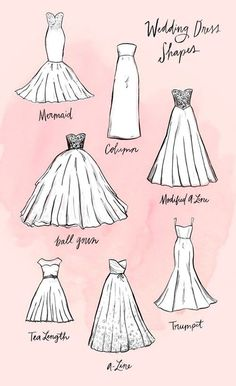 You Ever Wanted to Know About Wedding Dress Silhouettes The most stylish wedding dress shapes that will make you feel extra beautiful on your special day.The most stylish wedding dress shapes that will make you feel extra beautiful on your special day. Wedding Dress Shapes, Wedding Dress Silhouette, Wedding Dress Sketches, Fashion Silhouette, Different Wedding Dress Styles, Wedding Drawing, Type Of Wedding Dresses, Different Styles Fashion, Ballgown Wedding Dress