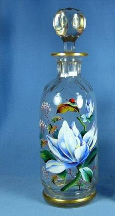 Antique enameled Moser Art Glass Perfume Bottle